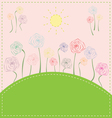 Colorful flowers on the meadow under the sun vector