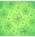 Green doodle flowers seamless pattern vector
