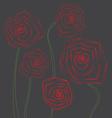 Poppy flowers on gray background vector
