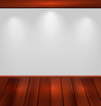 Empty wall with light and wooden floor - vector