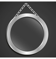 Metal frame with glass and chain on a black backgr vector
