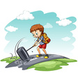 Young boy hammering the road vector
