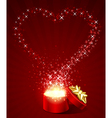 Open gift present box with fly stars heart shape vector