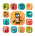 Flat phone icons set vector