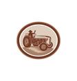 Vintage farm tractor driver waving circle retro vector