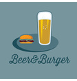 Beer and burger on the table vector