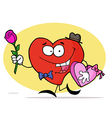 Red heart man carrying a box chocolate vector