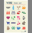 Food icons set drawn by color pencils vector