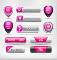 Pink glossy web elements button set vector