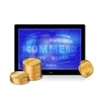 Tablet pc with golden coins vector