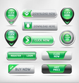 Green glossy web elements button set vector