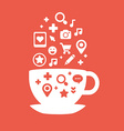 Set of icons of cups of coffee fly white and red vector