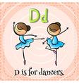 A letter d for dancers vector