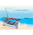 Sea beach and boat vector