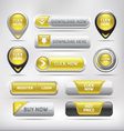 Yellow glossy web elements button set vector