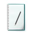 Lined notepad and pencil vector