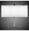 Empty wide mockup billboard with spotlights and vector