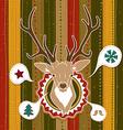 Vintage christmas card with deer vector