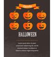 Halloween cute poster with pumpkins vector