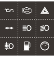 Black car dashboard icon set vector