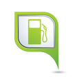 Green map pointer with gas station icon vector