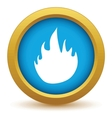 Gold fire icon vector