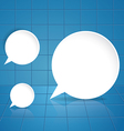Round speech bubble on blue tile background vector