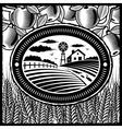 Retro farm black and white vector