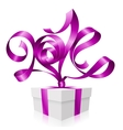 Gift box and purple ribbon in the shape of 2014 vector