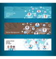 Set of horizontal banners headers business network vector