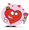 Happy red heart man in a hat holding three roses vector
