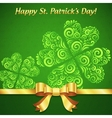 Curved ornate clovers green patricks day card vector