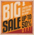 Big sale retro banner on old paper texture vector