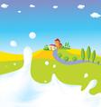 Splash of milk - with green field village a vector