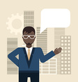 Flat young businessman pointing up creativ vector