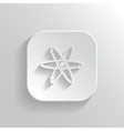 Atom icon - white app button vector
