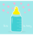Baby boy bottle hearts shower card vector