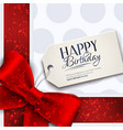 Birthday card with red ribbon and birthday vector