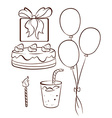 A simple drawing of a birthday celebration vector