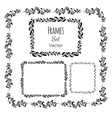 Black and white floral elements and frames set vector