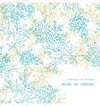 Scattered blue green branches frame corner pattern vector