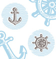 Vintage marine symbols icon set engraving anchor vector