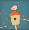 Simple card of funny cartoon bird on branch vector
