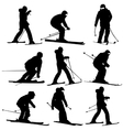 Mountain skier men and woman speeding down slope vector