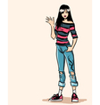 Smiling standing fashionable teenager in jeans vector