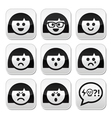 Smiley girl or woman faces avatar buttons vector