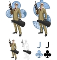 Jack of clubs hispanic mafioso with tommy-gun vector