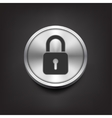 Closed lock icon on silver button vector