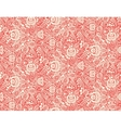 Red floral textile seamless pattern in gzhel style vector