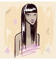 Fashion girl hand drawn portrait vector